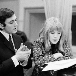 Marianne Faithfull and Mike Leander at Decca Studios by Gered Mankowitz 1964