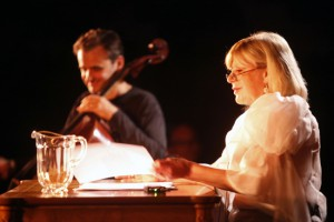 Marianne performing the Shakespeare Sonnets with Vincent Segal on cello, Château de Chillon, Montreux. 2009