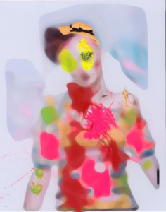 """The cover of Kissin Time was by Nick Knight from his """"Dolls"""" project. These images were created by letting four small children do the models' makeup in any way they wanted, then letting them draw on the prints."""