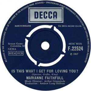 "The label of U.K. 7"" of 'Is This What I Get For Loving You?' which was backed by 'Tomorrow's Calling'."