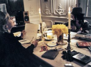Marianne at home with PJ Harvey working on tracks for Before the Poison