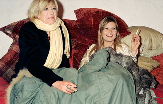 Marianne with Kate Moss on the set of the 'Sex With Strangers' video. Photo: Mario Testino